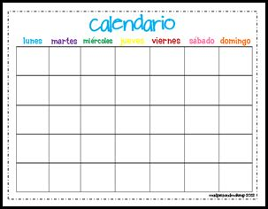 printable calendar in spanish mudpies and make up spanish circle time printables free