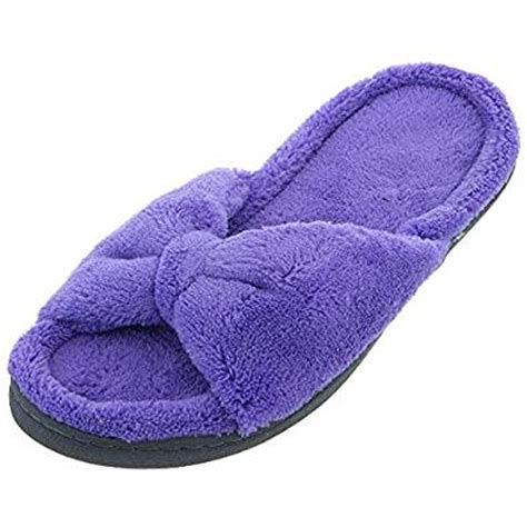 isotoner house slippers isotoner womens purple bow fuzzy slippers l 8