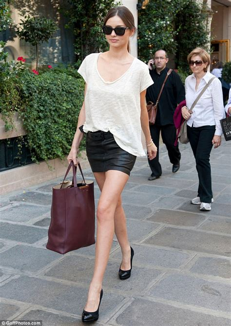 miranda kerr shows how to work a leather skirt snap fashion
