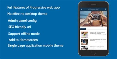 Wordpress Mobile Soft Progressive Web Application Plugin For Wordpress On Mobile By Cansolution Progressive Web App Template