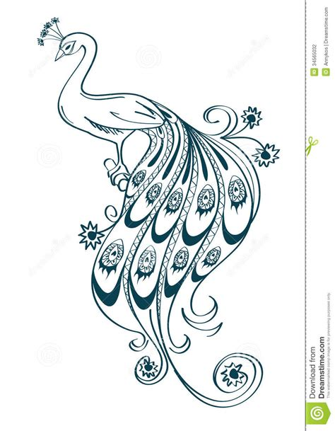 peacock clipart easy pencil and in color peacock clipart
