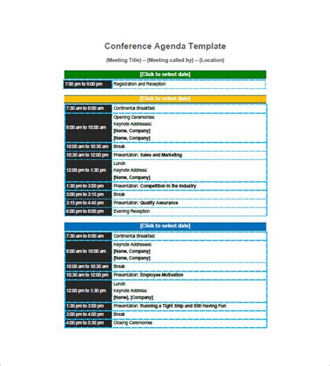 conference meeting agenda template 8 conference agenda templates free sle exle