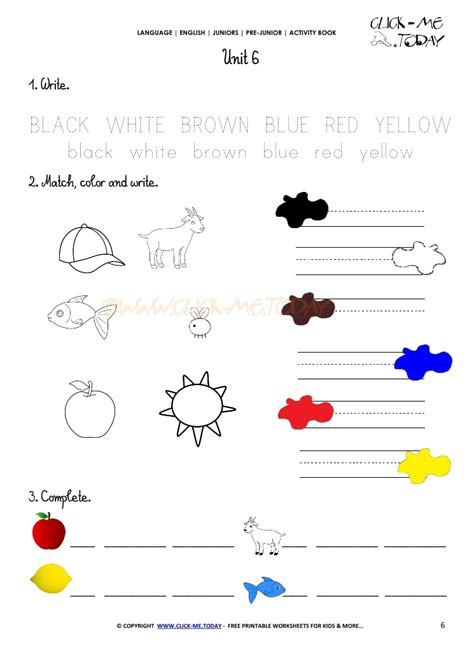 free printable english worksheets beginners free printable beginner esl pre junior worksheet 6 colors