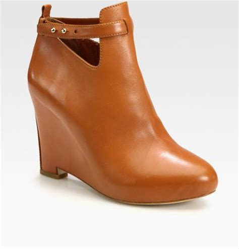 elizabeth and leather wedge ankle boots in brown