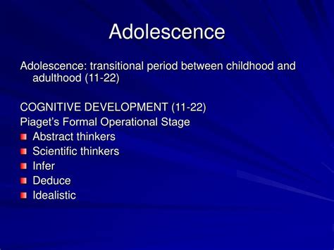 L Development by Ppt Chapter 11 Adolescence Powerpoint Presentation Id