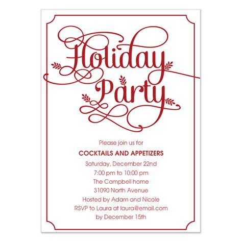 modern leaves holiday party invitation invitations