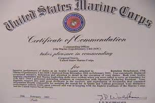 Usmc Certificate Of Commendation Template by Navy Marine Corps Commendation Medal Citation Format