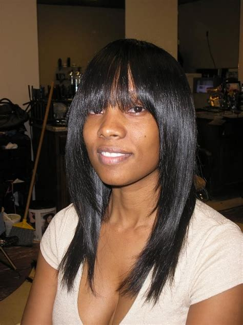 sew in weave hairstyles with bangs sew in weave with bangs pictures of sew in weave
