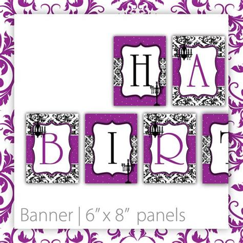 free printable birthday banner purple birthday party banner printable classic damask