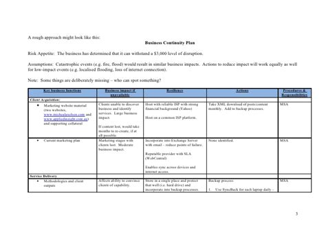Business Continuity Plan Template For Financial Services exle business continuity plan