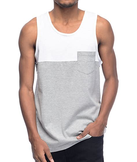Tank Top zine white grey blocked pocket tank top