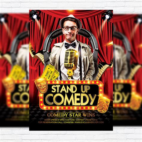comedy party premium flyer template facebook cover