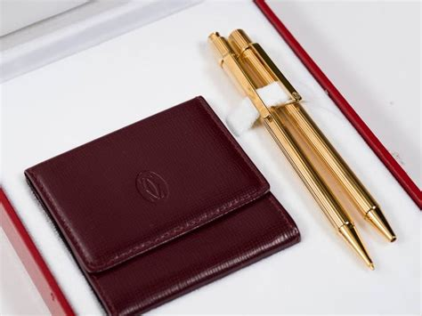 Cartier Cervo 8851 Leather Set cartier pen and pencil set with leather change wallet at