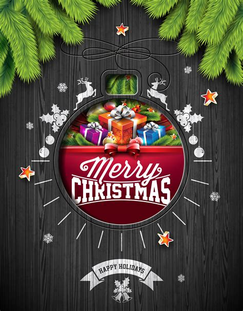 vector merry christmas holiday  happy  year illustration  typographic design