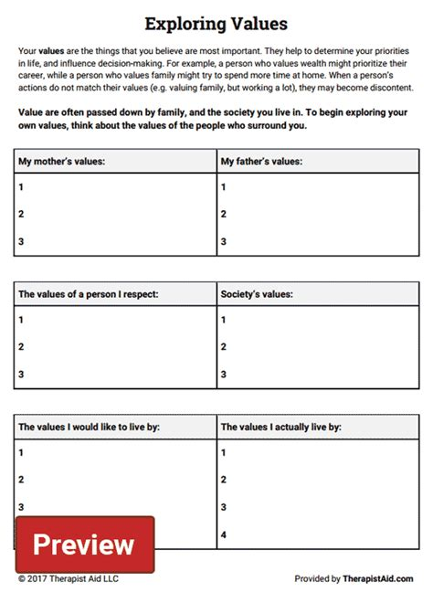 Building Valuation Worksheet Exploring Values Worksheet Therapist Aid