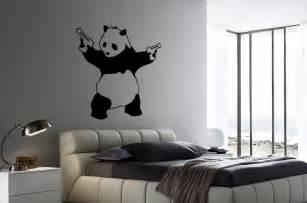Stickers For Walls 38 quot x 36 quot bansky panda with guns vinyl bedroom wall art