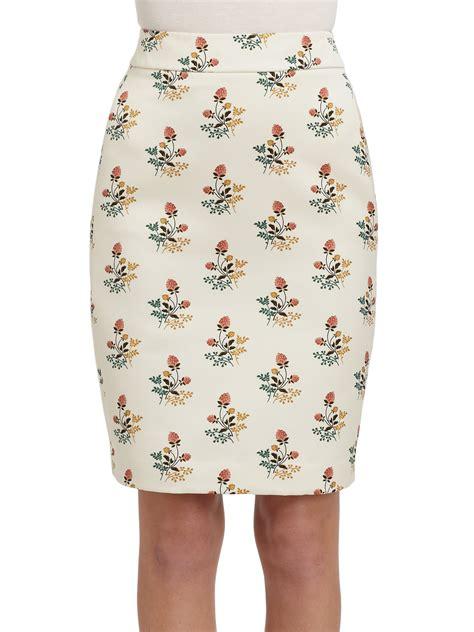 derek lam floral print satin pencil skirt in white lyst