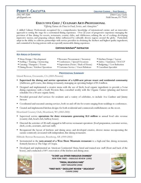 chef resume objective exles executive chef resume exle 1 things to wear