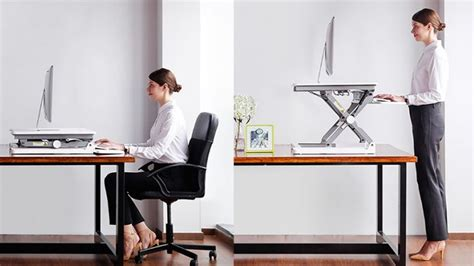 adjustable sit stand desktop workstation desk riser