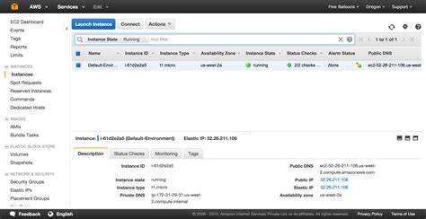 ec2 management console creating a new elastic beanstalk instance and