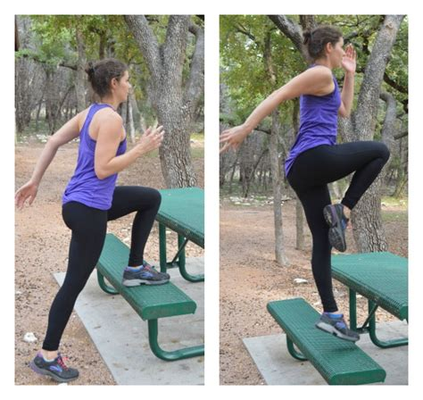 step up jumps on bench 10 exercises you can do on a park bench or picnic table