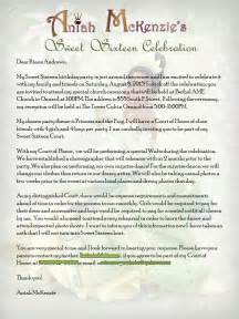 Sponsor Letter For Quince Princess And The Frog Sweet 16 Court Of Honor Invite Letter Aniah S Princess Sweet 16