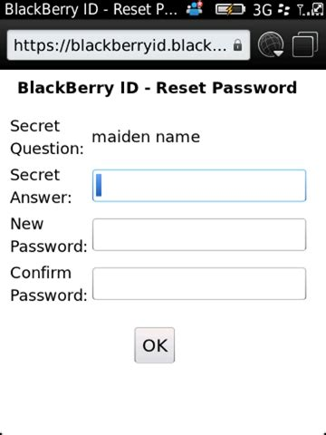 reset blackberry security password my blackberry id
