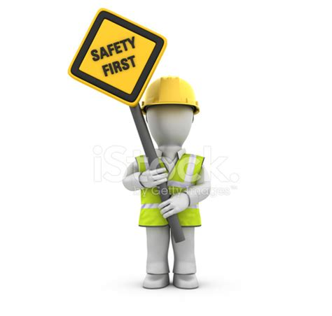 Construction Plan Symbols by Worker With Safety First Sign Stock Photos Freeimages Com