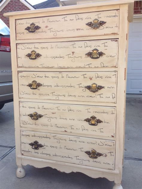 Using Dressers As Nightstands Dresser Chest Of Drawers Stenciled With Old Script
