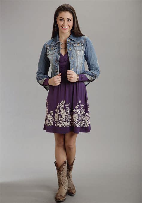 stetson 174 purple embroidered ls western dress