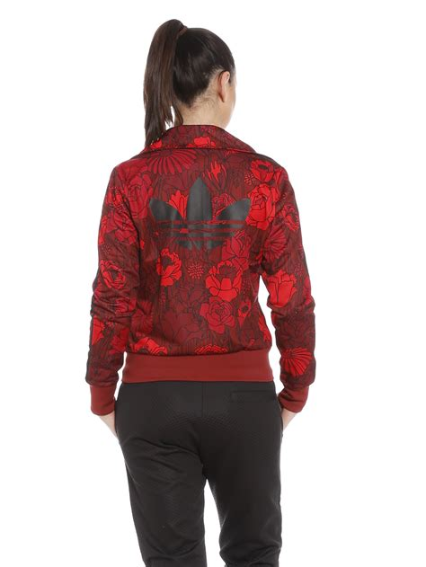 flower pattern adidas jacket adidas firebird track jacket in red floral