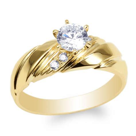womens  yellow gold  cz luxury engagement wedding ring size