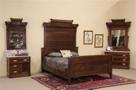 marble top bedroom set victorian eastlake 1885 antique queen size bedroom set