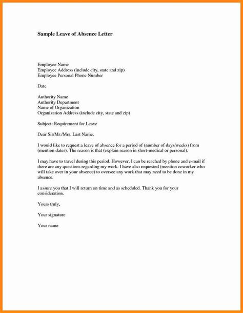 School Application Letter For Absent 9 Application For Leave Of Absence From Work Driver Resume
