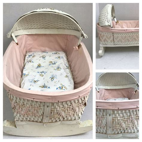 vintage white pink wicker wooden rocking baby doll bed