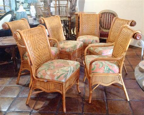 set   colonial style rattan dining chairs  sale