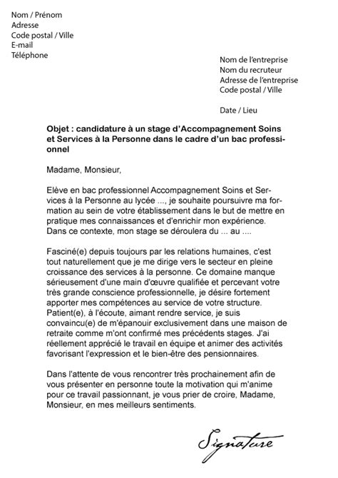 Stage Assp Lettre De Motivation Lettre De Motivation Stage Bac Pro Assp Mod 232 Le De Lettre
