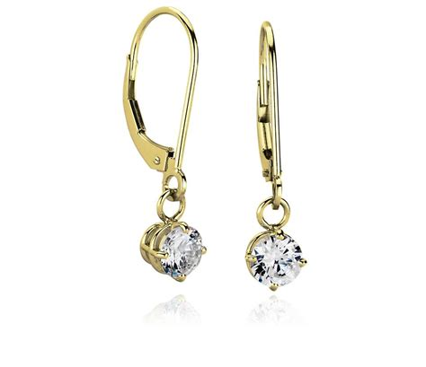 Dangle Earring four prong leverback dangle earring settings in 14k yellow