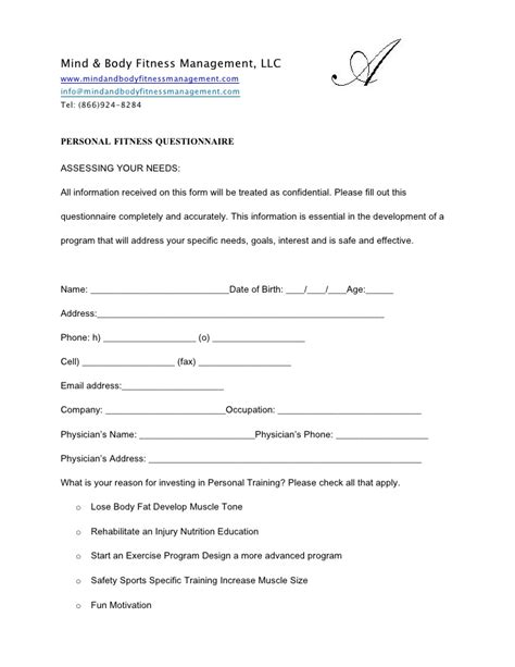 pre exercise screening form template personal fitness questionaire