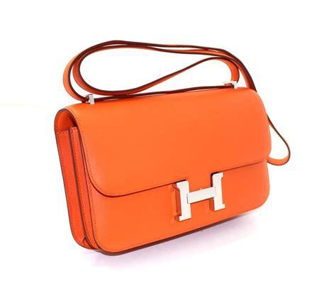 Hermes Leather Bag herm 232 s orange leather constance elan crossbody shoulder bag at 1stdibs