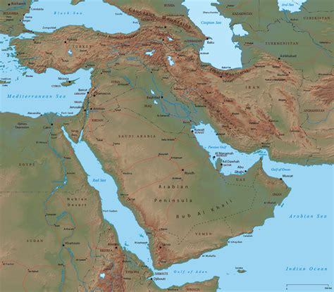 physical map of the middle east middle east map asia