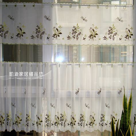kitchen curtain embroidery fabric coffee curtain tulle