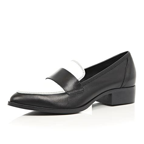 black and white loafer river island black and white leather loafers in black lyst