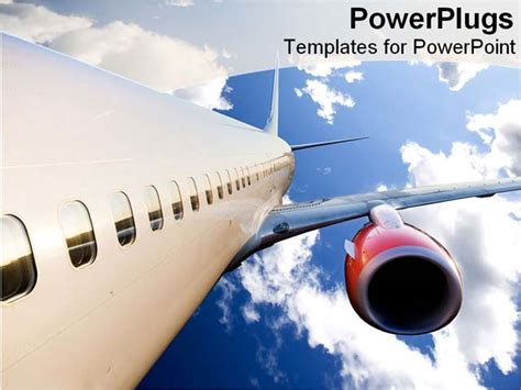airplane flying in bright blue sky powerpoint template