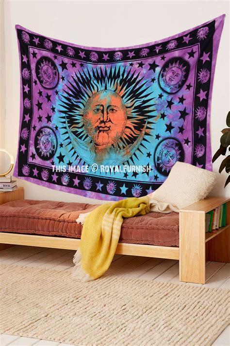 celestial bedding pink multi celestial sun moon star tapestry tie dye thin