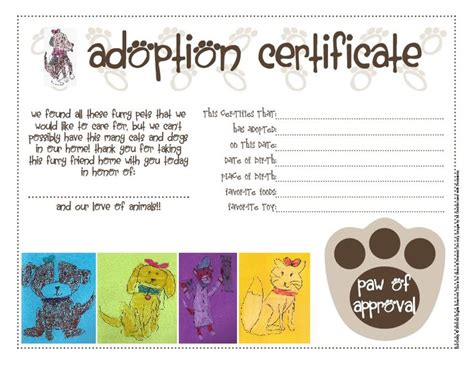 best 25 adoption certificate ideas on pinterest paw