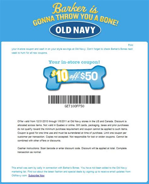 old navy coupons in store canada old navy canada barkers bones coupon save 10 off 50