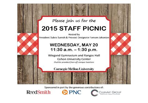 Carnegie Mellon Mba Invitation Dates by You Re Invited Staff Picnic Is May 20 The Piper