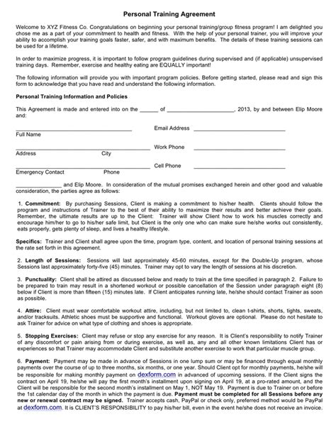exercise contract template personal contract sle free