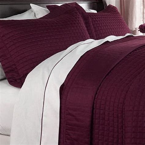 solid quilts and coverlets modern solid burgundy microfiber quilt coverlet set
